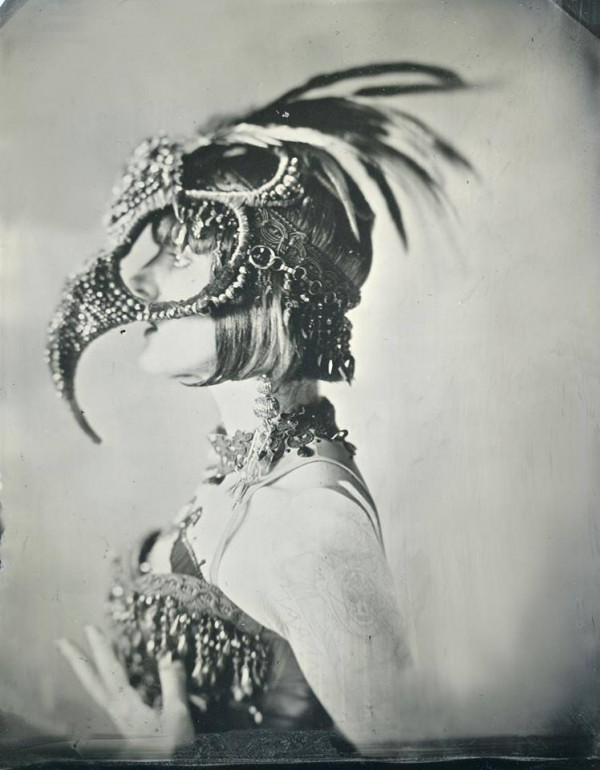 (c) Photography by Allan Barnes (half plate tintype) Beautiful Cleo Viper, Burlesque Dancer, Los Angeles CA 6.26.2013 Headpiece:Candice Angélini